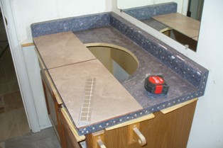 Vanity W/Underside Ledge & Initial Lay-Out