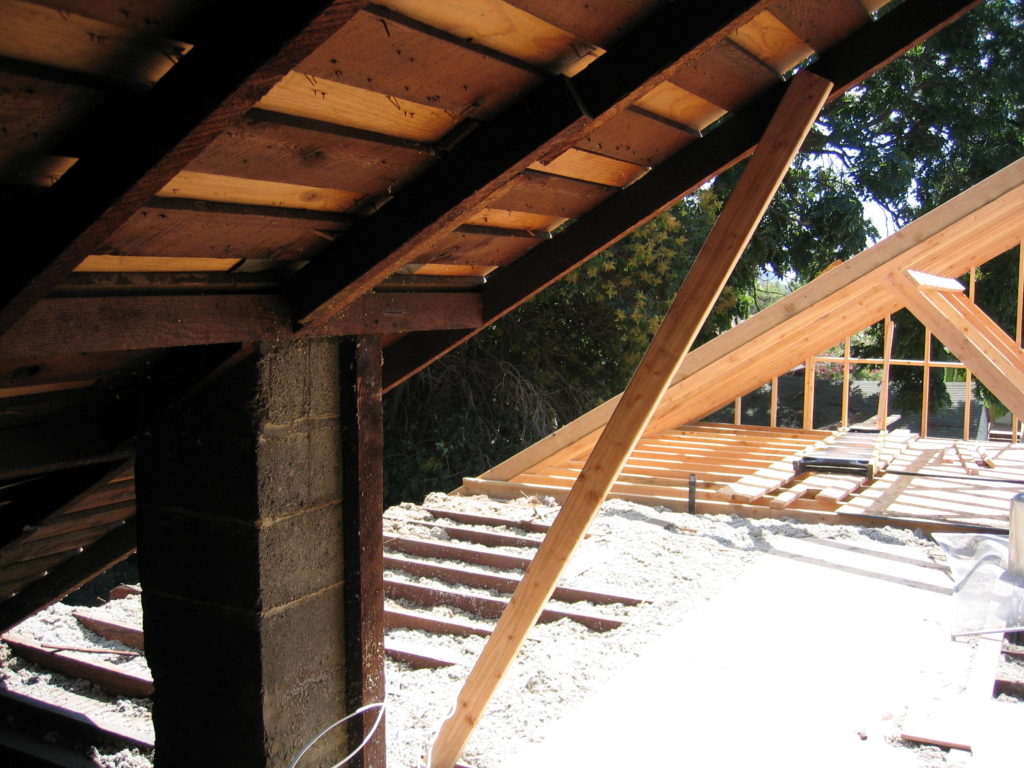 Den's New Roof Framing From Inside Old Attic