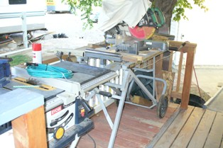 My Deck Rear w Table Saw and Compound Mitre Saw